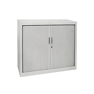 Armoires - Armoire rideaux basse grise 135x120x46