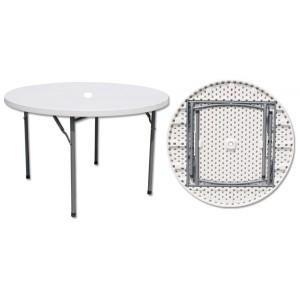 Table pliante ronde avec trou pour parasol, Diamètre 94 cm