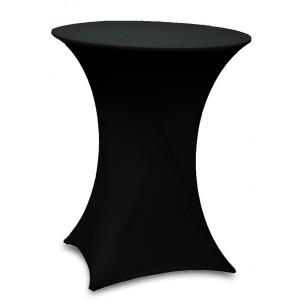 Housse Lisse Spandex NOIRE pour table pliante ronde mange debout, Diamètre 80 cm