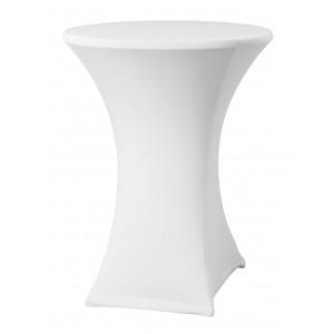 Housse Lisse Spandex BLANCHE pour table pliante ronde mange debout, Diamètre 80 cm