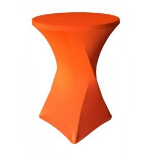 Housse Lisse Spandex ORANGE pour table pliante ronde mange debout, Diamètre 80 cm