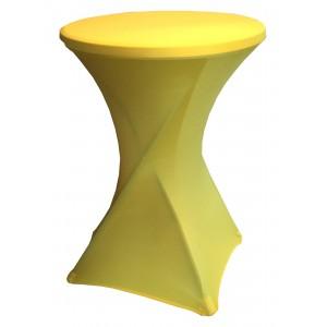 Housse Lisse Spandex JAUNE pour table pliante ronde mange debout, Diamètre 80 cm