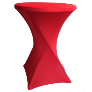 Housse Lisse Spandex ROUGE pour table pliante ronde mange debout, Diamètre 80 cm