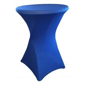 Housse Lisse Spandex BLEUE pour table pliante ronde mange debout, Diamètre 80 cm