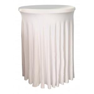 Housse Ondulée BLANCHE Spandex pour table pliante Mange debout Diamètre 80 cm