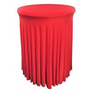 Housse Ondulée ROUGE Spandex pour table pliante Mange debout Diamètre 80 cm