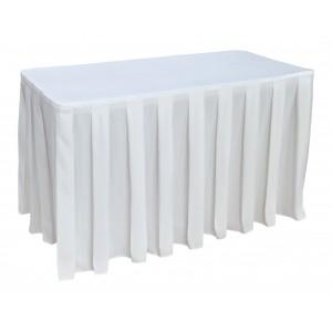 Nappe Ondulée 4 Polyester BLANCHE pour table pliante rectangle 122cm x 61cm