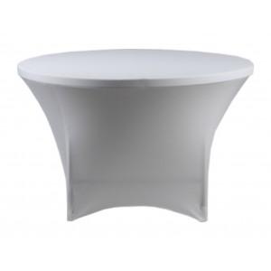 Housse Lisse Spandex BLANCHE pour table pliante ronde Diamètre 122cm