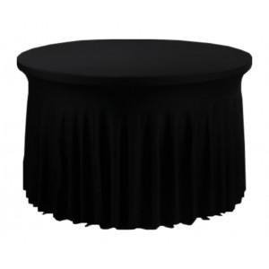 Housse Ondulée Spandex NOIRE pour table pliante ronde Diamètre 122cm