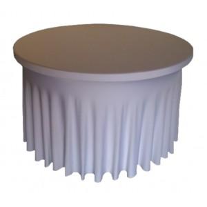 Housse Ondulée Spandex BLANCHE pour table pliante ronde Diamètre 122cm