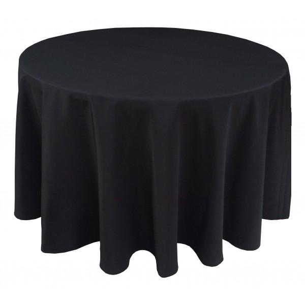 nappe ondul e 3 polyester noire pour table pliante ronde diam tre 122cm bjs fournitures. Black Bedroom Furniture Sets. Home Design Ideas