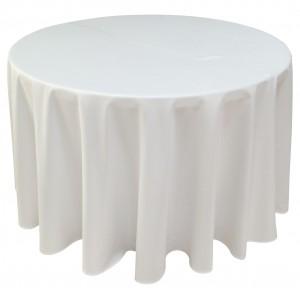 Nappe Ondulée 3 Polyester BLANCHE pour table pliante ronde Diamètre 122cm