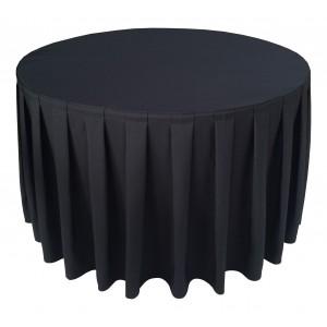 Nappe Ondulée 4 Polyester NOIRE pour table pliante ronde Diamètre 122cm