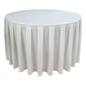 Nappe Ondulée 4 Polyester BLANCHE pour table pliante ronde Diamètre 122cm