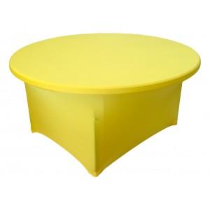 Housse Lisse Spandex JAUNE pour table pliante ronde Diamètre 150 cm