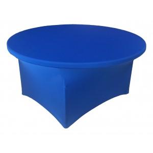 Housse Lisse Spandex BLEUE pour table pliante ronde Diamètre 150 cm