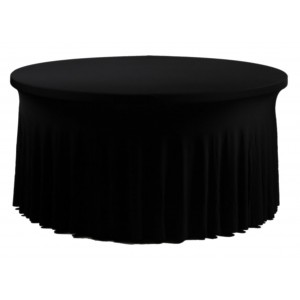 Housse Ondulée Spandex NOIRE pour table pliante ronde Diamètre 150 cm