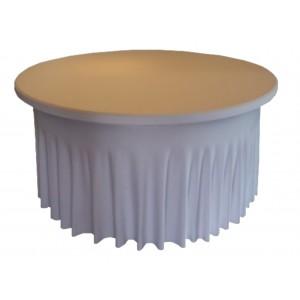 Housse Ondulée Spandex BLANCHE pour table pliante ronde Diamètre 150 cm