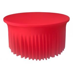 Housse Ondulée Spandex ROUGE pour table pliante ronde Diamètre 150 cm