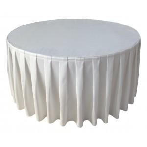 Housse Ondulée 4 Polyester BLANCHE pour table pliante ronde Diamètre 150 cm