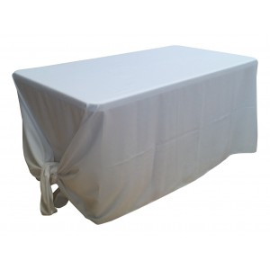 Nappe Lisse 3 Polyester BLANCHE pour table pliante rectangle 152cm x 76cm