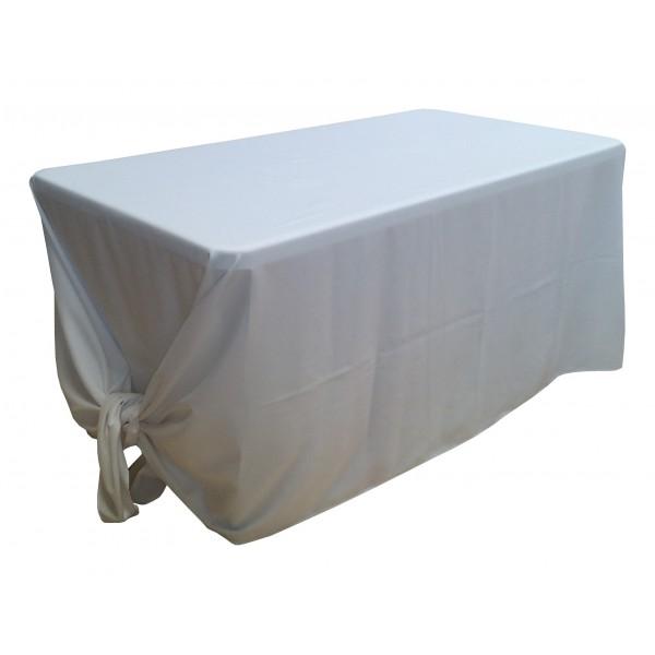 Nappe lisse 3 polyester blanche pour table pliante for Nappe pour table exterieur