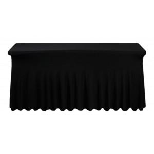 Housse Ondulée Spandex NOIRE pour table pliante rectangle 152cm x 76cm