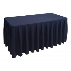 Nappe Ondulée 4 Polyester NOIRE pour table pliante rectangle 152cm x 76cm