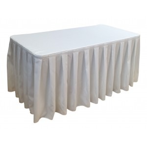 Nappe Ondulée 4 Polyester BLANCHE pour table pliante rectangle 152cm x 76cm