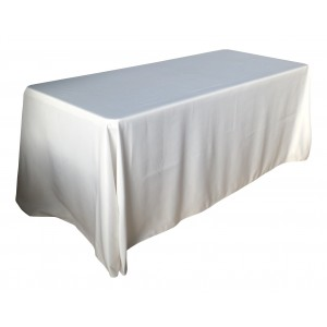 Nappe Lisse 3 Polyester BLANCHE pour table pliante rectangle 183cm x 76cm
