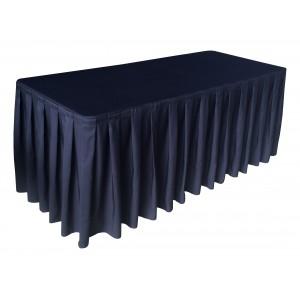 Nappe Ondulée 4 Polyester NOIRE pour table pliante rectangle 183cm x 76cm