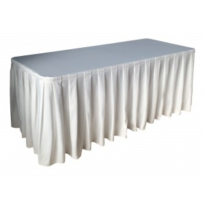 Nappe Ondulée 4 Polyester BLANCHE pour table pliante rectangle 183cm x 76cm