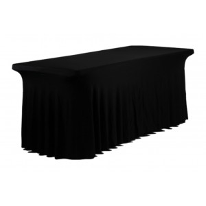 Housse Ondulée Spandex NOIRE pour table pliante rectangle 183cm x 76cm