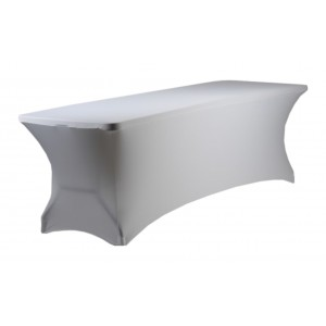 Housse Lisse Spandex BLANCHE pour table pliante rectangle 240cm x 76cm