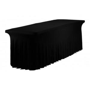Housse Ondulée Spandex NOIRE pour table pliante rectangle 240cm x 76cm