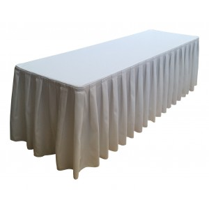 Nappe Ondulée 4  BLANCHE pour table pliante rectangle 240cm x 76cm