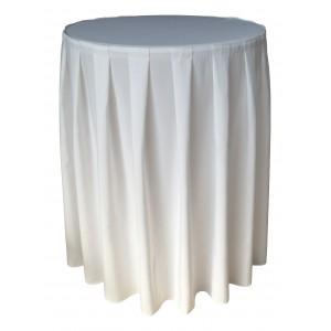 Nappe Ondulée 4 Polyester BLANCHE pour table pliante ronde mange debout Diamètre 80cm