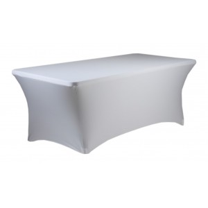 Housse Lisse Spandex BLANCHE pour table pliante rectangle 200cm x 90cm