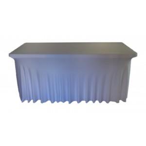 Housse Ondulée Spandex BLANCHE pour table pliante rectangle 200cm x 90cm