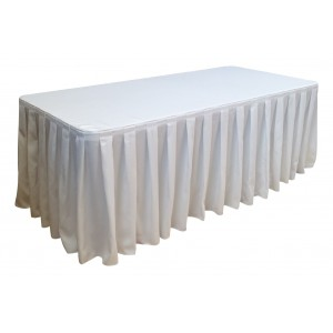 Nappe Ondulée Style 4 BLANCHE pour table pliante rectangle 200cm x 90cm