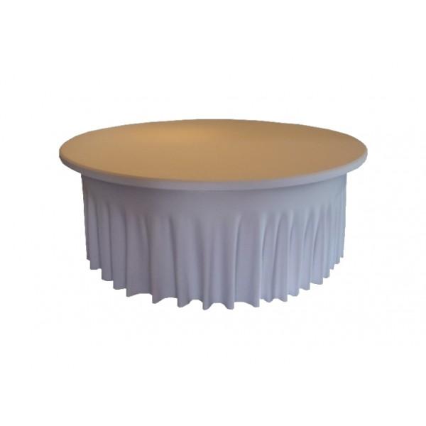 housse ondul e spandex blanche pour table pliante ronde diam tre 180 cm bjs fournitures. Black Bedroom Furniture Sets. Home Design Ideas