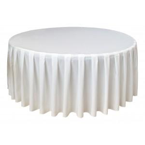 Housse Ondulée 4 Polyester BLANCHE pour table pliante ronde Diamètre 180 cm