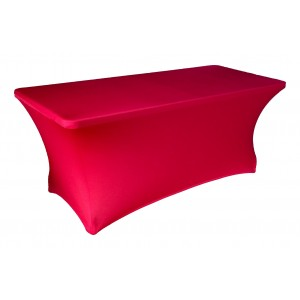 Housse Lisse Spandex ROUGE pour table pliante rectangle 200cm x 90cm