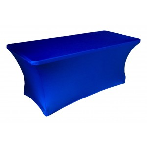 Housse Lisse Spandex BLEUE pour table pliante rectangle 200cm x 90cm