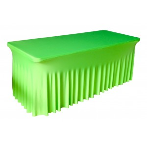 Housse Ondulée Spandex VERTE pour table pliante rectangle 240cm x 76cm