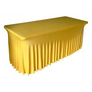 Housse Ondulée Spandex JAUNE pour table pliante rectangle 240cm x 76cm