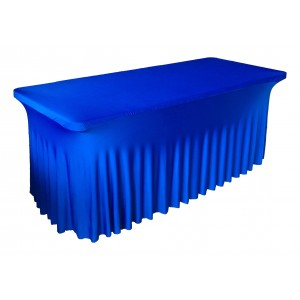 Housse Ondulée Spandex BLEUE pour table pliante rectangle 240cm x 76cm
