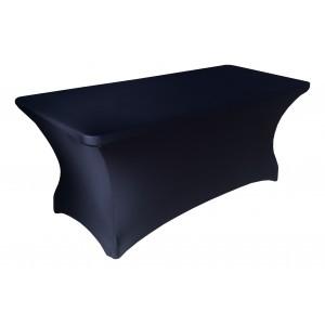 Housse Lisse Spandex NOIRE pour table pliante rectangle 152cm x 76cm