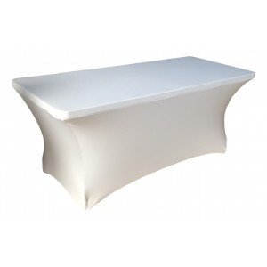 Housse Lisse Spandex BLANCHE pour table pliante rectangle 152cm x 76cm