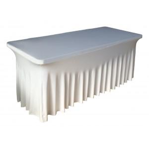 Housse Ondulée Spandex BLANCHE pour table pliante rectangle 240cm x 76cm
